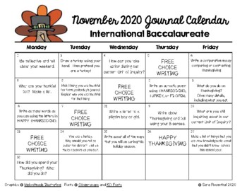 Writing Calendar - November 2016 & IB