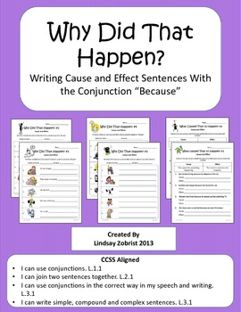 Writing Cause and Effect Sentences: 1st-3rd Grade Common C