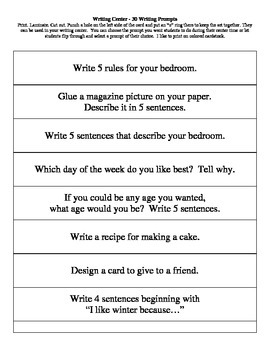 Writing Center - 30 Writing Prompts - Task Cards