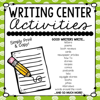 Writing Center Activities- UPDATED!
