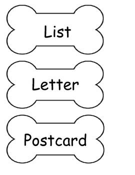 Writing Center Labels (bone shape for dog theme)