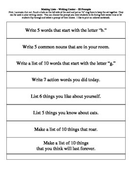 Writing Center - Making Lists Task Cards - 22 Prompts