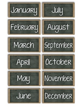 Writing Center - Months of Year - Mini Chalkboards