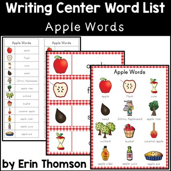 Writing Center Word List ~ Apple Words