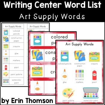 Writing Center Word List ~ Art Supply Words