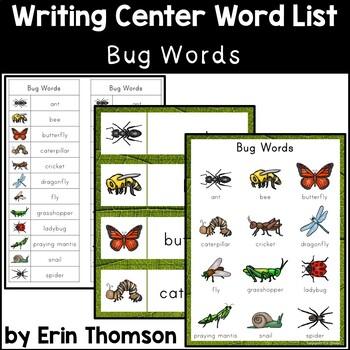 Writing Center Word List ~ Bug Words
