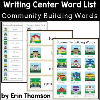Writing Center Word List ~ Community Building Words