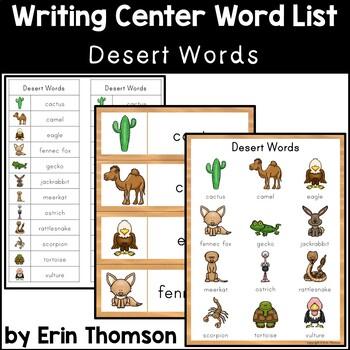 Writing Center Word List ~ Desert Words