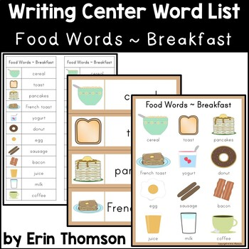 Writing Center Word List ~ Food Words {Breakfast}