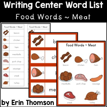 Writing Center Word List ~ Food Words {Meat}