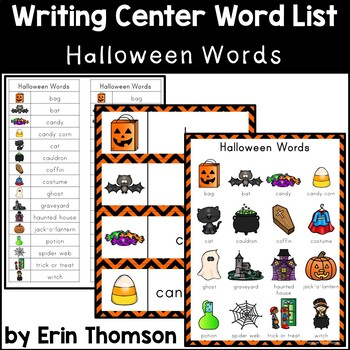 Writing Center Word List ~ Holiday Words {Halloween}