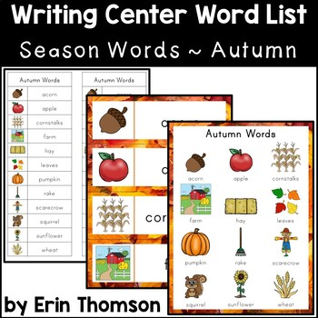 Writing Center Word List ~ Season Words {Autumn}