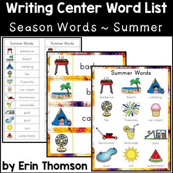 Writing Center Word List ~ Season Words {Summer}