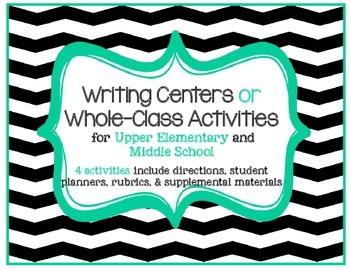Writing Activity or Writing Center Bundle: Set of 4 w/ rub