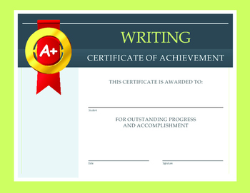 Writing Certificate of Achievement