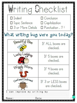 Writing Checklist- Paragraph