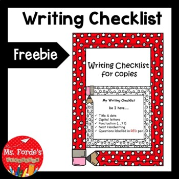Writing Checklist for Copies FREEBIE