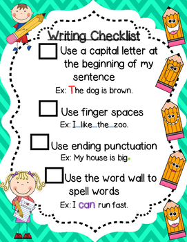 Writing Checklist for Primary Grades