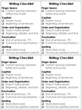 Writing Checklist for Students - Editing and Revising - Pr