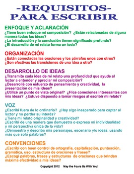 Writing Checklist in Spanish (Requisitos Para Escribir)
