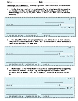 Writing Checks: Changing Expanded Form to Standard and Word Form
