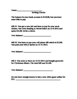 Writing Checks Worksheet