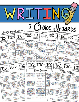 Writing Choice Boards (Narrative, Informational, Opinion,