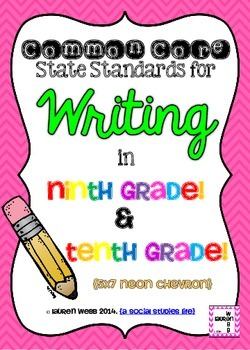 9th and 10th grade Writing Common Core Standards Posters