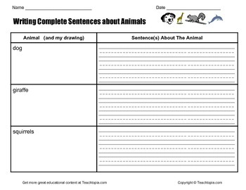 Writing Complete Sentences about Animals