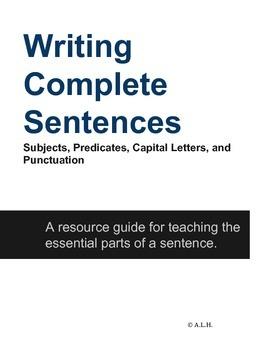 Writing Complete Sentences- elementary-high school age app