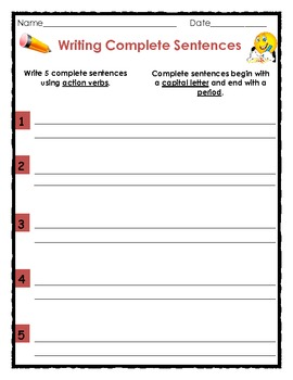 Printables Writing Complete Sentences Worksheet writing complete sentences with nouns verbs by the teacher and adjectives