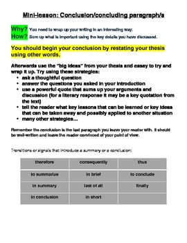 Writing Conclusions / Concluding Paragraphs - Mini-Lesson