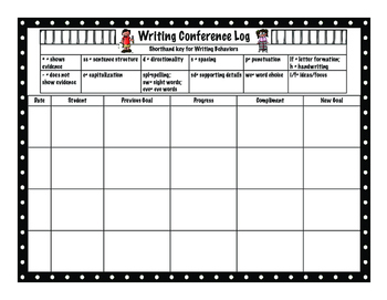 Writing Conference Log