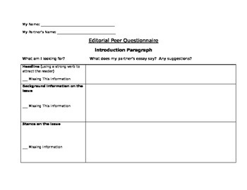 Writing: Editorial Peer Questionnaire