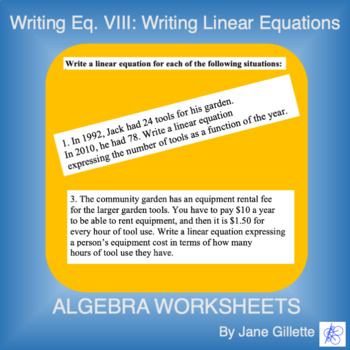 Writing Eq. VIII: Writing Linear Equations
