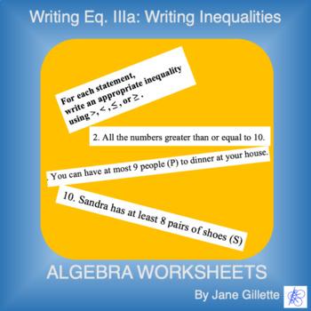 Writing Equations. IIIa: Writing Inequalities
