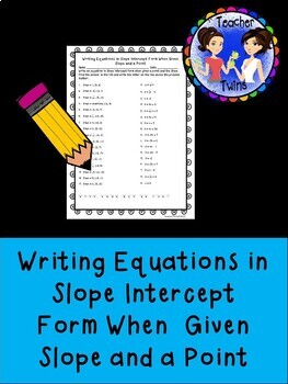 Writing Equations When Given a Point and Slope Practice Worksheet