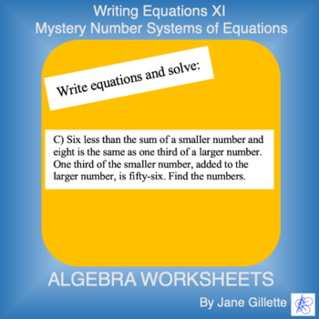 Writing Equations XI: Mystery Number Systems of Equations