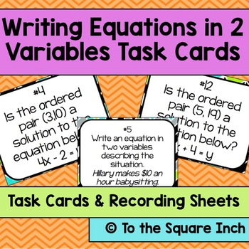 Writing Equations in 2 Variables Task Cards