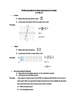 Writing Equations in Slope-Intercept Form Notes