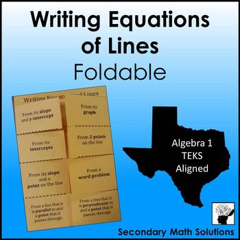 Writing Equations of Lines Foldable