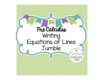 Writing Equations of Lines Jumble