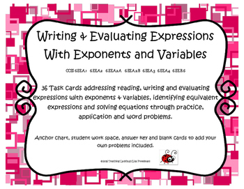 Writing & Evaluating Expressions with Exponents & Variable