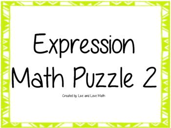 Writing Expressions Puzzle 2