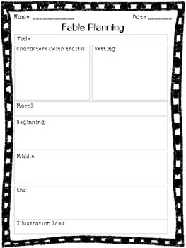 Writing Fables - Graphic Organizer for Upper Elementary