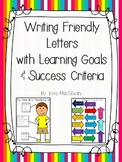 Letter Writing with Learning Goals, and Success Criteria