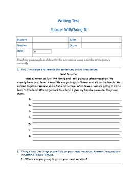 Writing: Future with Will and Going to
