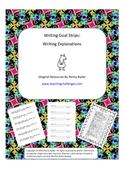 Writing Goal Strips: Writing Explanations