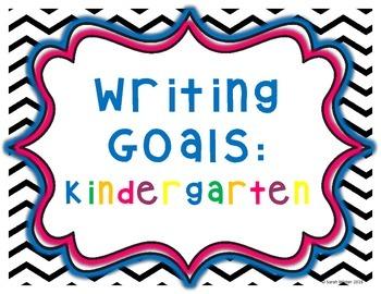 Writing Goals: Kindergarten - Chevron background