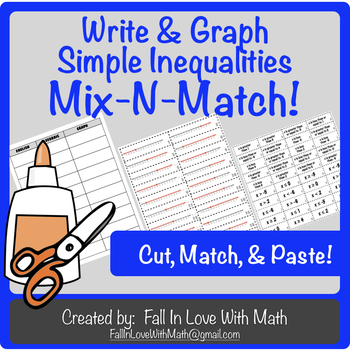 Writing & Graphing Simple Inequalities Mix-N-Match!